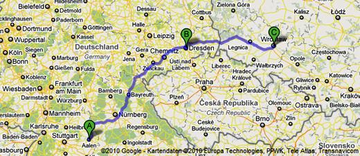 Von Aalen geht es über Dresden nach Wroclaw