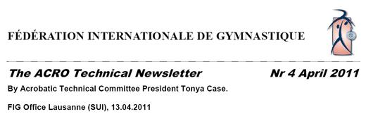 Newsletter des Technischen Komitees der FIG für Sportakrobatik