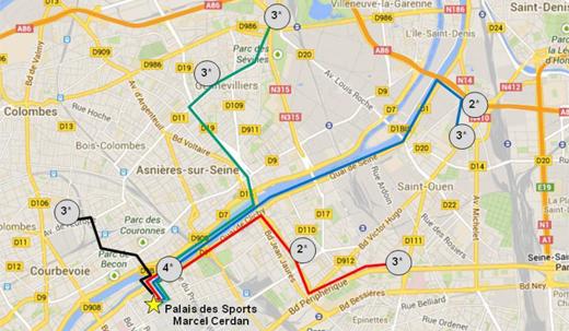 WM-Shuttlebus-Liniennetzplan (Levallois-Perret / Frankreich)