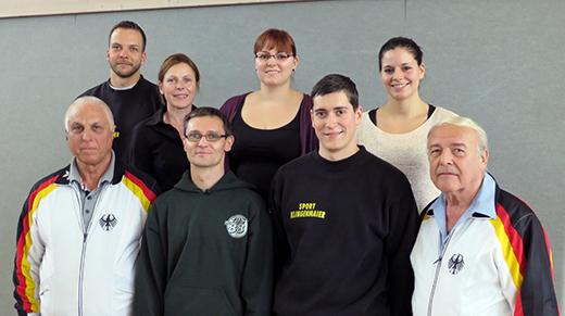 Glückwunsch an (von links) Sascha Kohn (Württembergischer Sportakrobatik Verband), Sabine Pfeiff (Neuss, freischaffend), André Schatz (TuS Hellersdorf), Claudia Rettig (FTG Pfungstadt) und Tobias und Sabrina Hegele (TSG Hofherrnweiler-Unterrombach)!